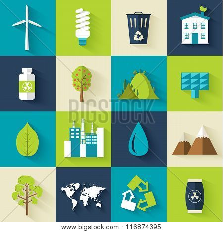 set of ecology flat icons illustration concept. Vector eco template of element for your product or i