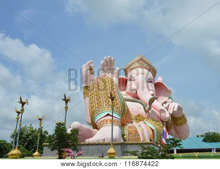big statue of elephant god in temple