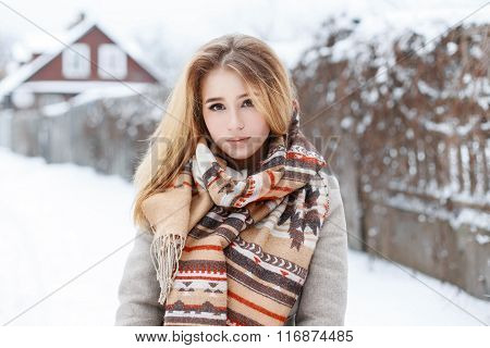 Young Beautiful Rural Girl On Vacation Walking In The Countryside