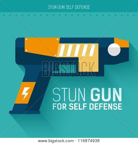 Stun gun for self defense. Vector icon illustration background. Colorful template for you design, we