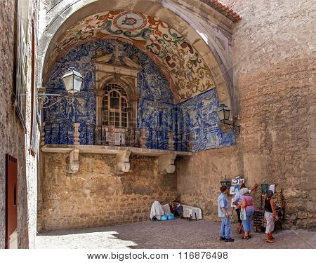 Obidos, Portugal - July, 2015: The medieval Town Gate called