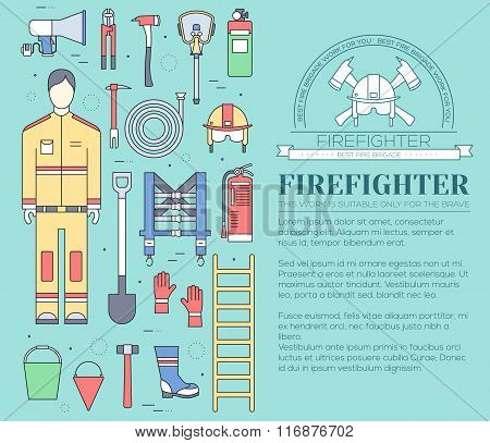 Flat firefighter uniform and first help equipment set and instruments. On flat style background conc