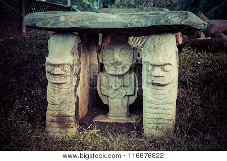 idols monuments in san augustin national park, colombia