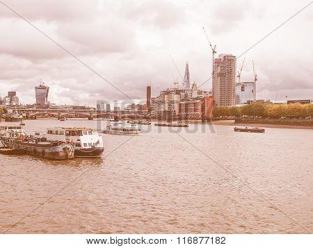 River Thames In London Vintage