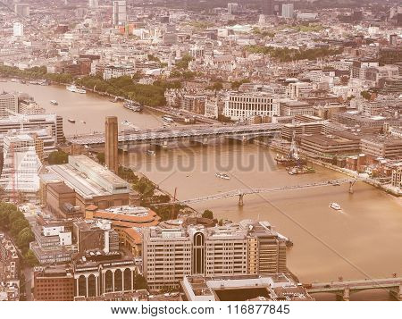 Retro Looking Aerial View Of London