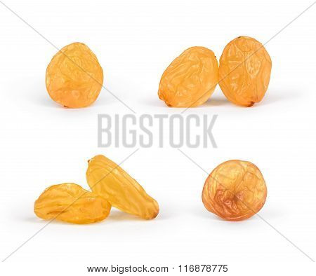 Set Light Light Raisins On An Isolated White Background