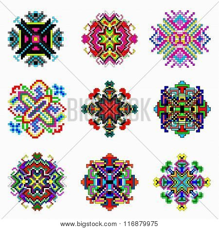 Beautiful Color Mandala Of Pixels Collection Of Vintage Objects