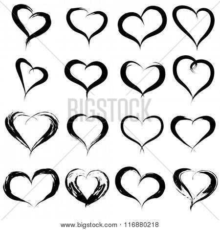 Vector concept or conceptual painted black heart shape or love symbol set or collection, made by a happy child at school isolated on white background