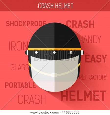 Helmet for self protect. Vector icon illustration background. Colorful template for you design, web