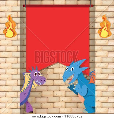 Two dragons behind the brick wall illustration