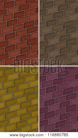 Brick wall in four colors illustration