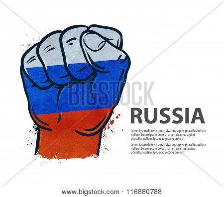 fist.  flag Russia, Moscow. vector illustration