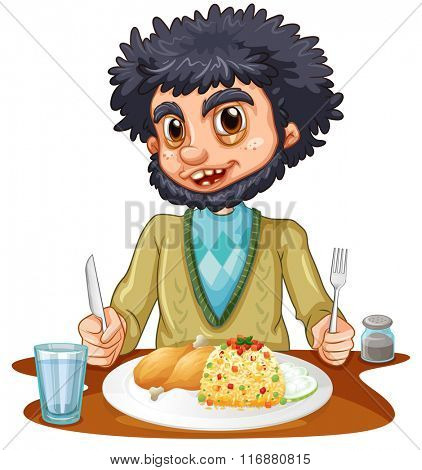 Man eating meal on the table illustration