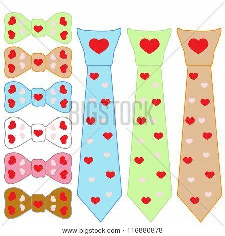 Set Tie Cravat And Valentine's Day