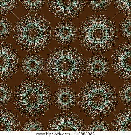 Seamless pattern with blue mandalas