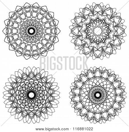 Set Of Guilloche Rosettes