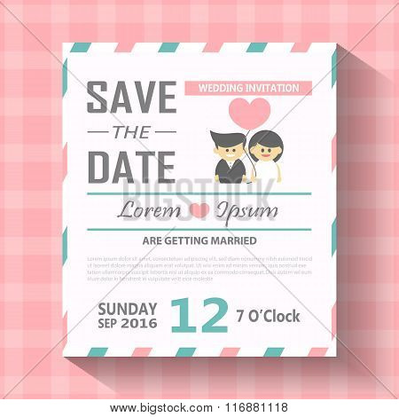 Wedding invitation card with cartoon template vector illustration