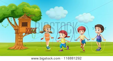 Children skipping rope in the park illustration