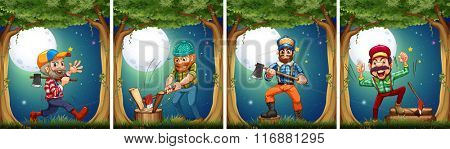 Lumbers chopping woods at night illustration