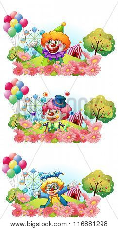 Three scenes of clown smiling in the garden illustration