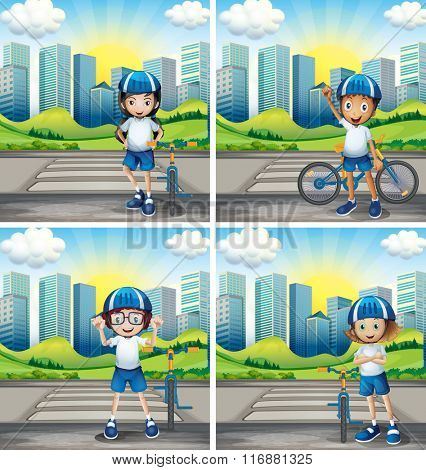 Four children with helmet and bike on the street illustration