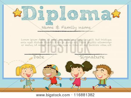 Diploma template with children in background illustration
