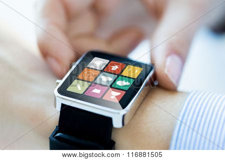 close up of hands setting smart watch application