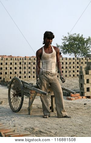 SARBERIA,INDIA, JANUARY 16: Brick factory. Tools and machines for making bricks are very rudimentary, Jan 16, 2009 in Sarberia, West Bengal, India.