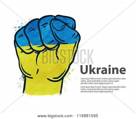 fist. flag Ukraine, Kiev. vector illustration