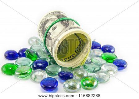 Stones Set On Dollars Money.