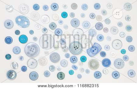 Collection Of Blue Designer Buttons On White Background