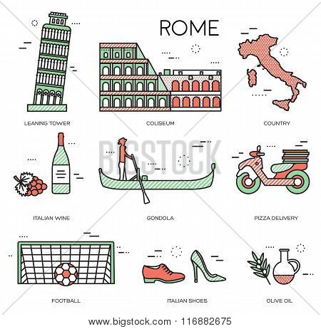 Country Italy trip guide of goods, places in thin lines style design. Set of architecture, fashion,