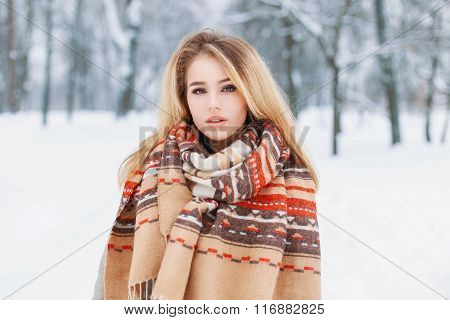 Portrait Of A Beautiful Woman With A Warm Vintage Scarf On A Winter Day