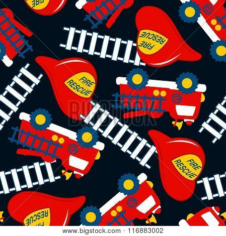 Fire Rescue With Red Helmet And Truck Seamless Pattern