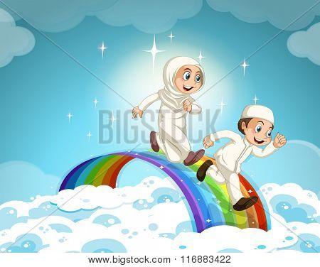 Muslim couple running over the rainbow illustration