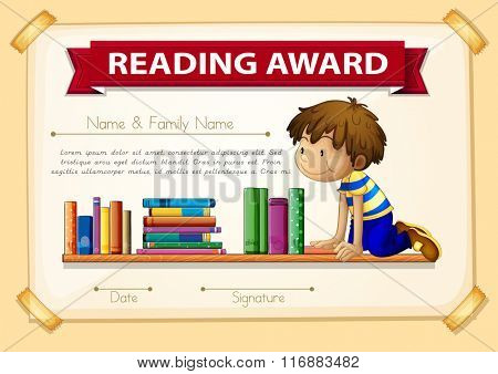 Certification template with boy and books illustration