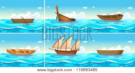 Ocean scenes with boats on water illustration