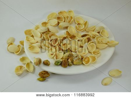 pistachio nut peel out on dish