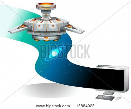 Computer screen with spaceship flying in the space illustration