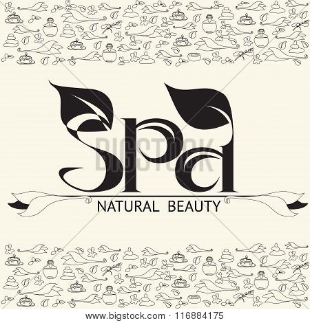 Vector handwritten  label black word spa natural beauty.