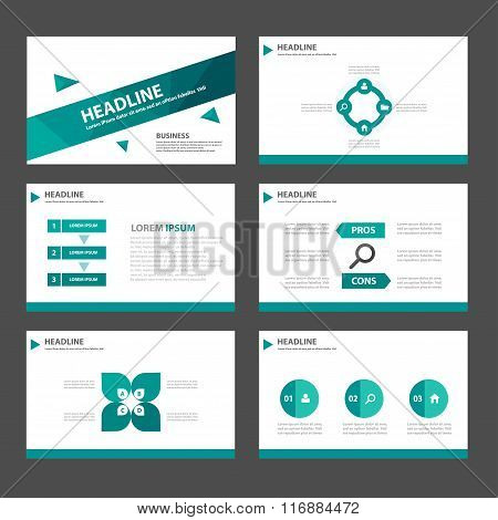 Greem polygon presentation templates Infographic elements flat design set