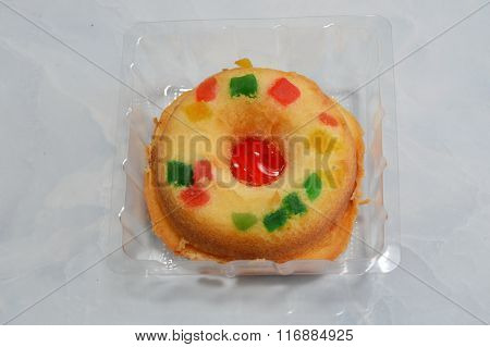 strawberry roll on plastic tray