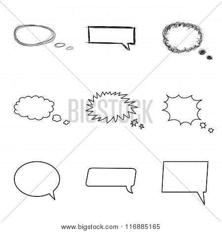 Talking bubble set. Comic style speech bubbles collection. Funny design vector items illustration. T