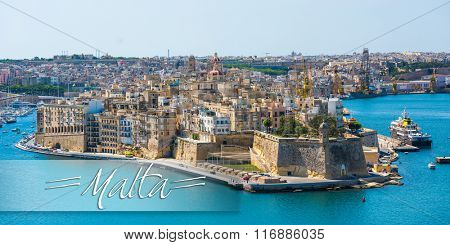 postcard with beautiful panoramic view on Valletta from the sea in Malta