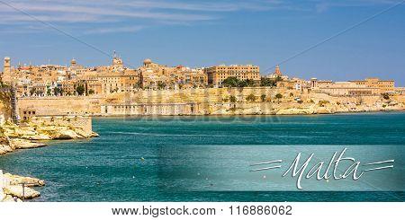 postcard with amazing coastal architecture of Valletta in Malta from the sea