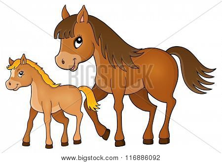Horse with foal theme image 1 - eps10 vector illustration.