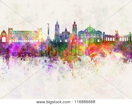 Mexico City V2 Skyline In Watercolor Background