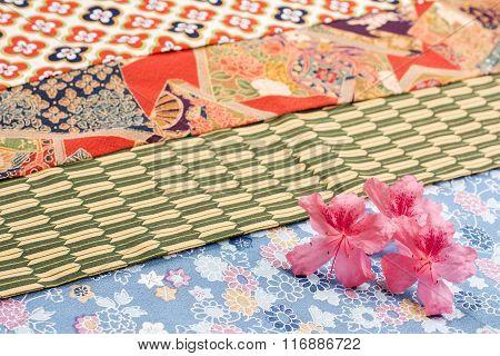 Azalea flowers on cloth