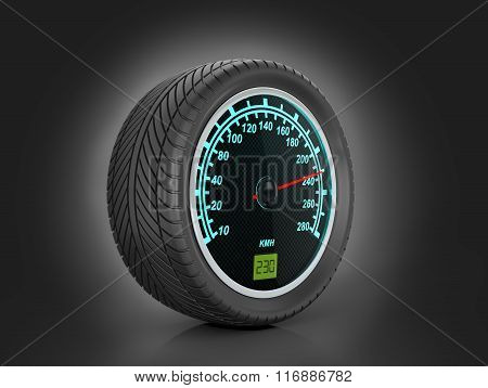 Speedometer In Car Wheel On A Black Background.