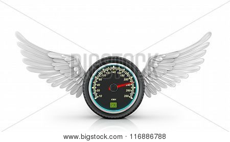Automotive Wheel With Speedometer And Wings Arranged On A White Background.